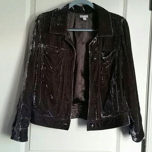 Jill Crushed Silk Velvet Jean Jacket M
